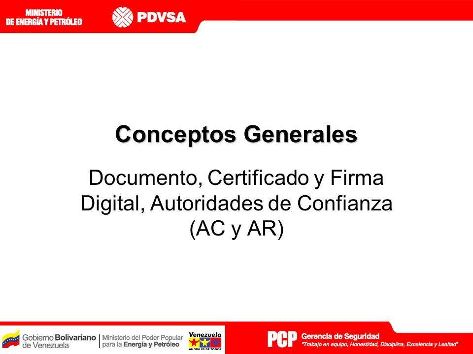 Conceptos Generales Documento, Certificado y Firma Digital, Autoridades de Confianza (AC y AR)