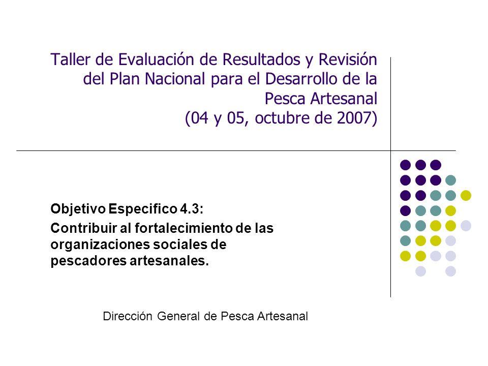Taller de Evaluación de Resultados y Revisión del Plan Nacional para el Desarrollo de la Pesca Artesanal (04 y 05, octubre de 2007) Objetivo Especifico 4.3: Contribuir al fortalecimiento de las organizaciones sociales de pescadores artesanales.