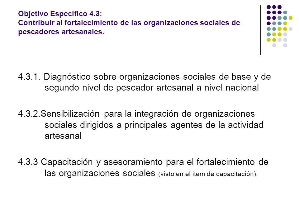 Objetivo Especifico 4.3: Contribuir al fortalecimiento de las organizaciones sociales de pescadores artesanales.