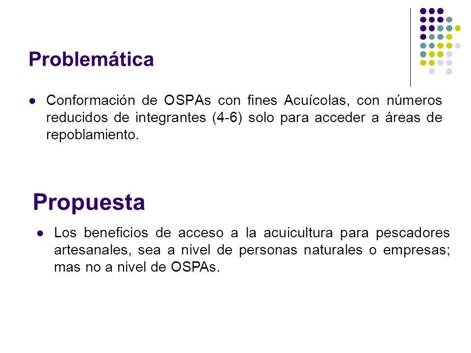 Problemática Conformación de OSPAs con fines Acuícolas, con números reducidos de integrantes (4-6) solo para acceder a áreas de repoblamiento.