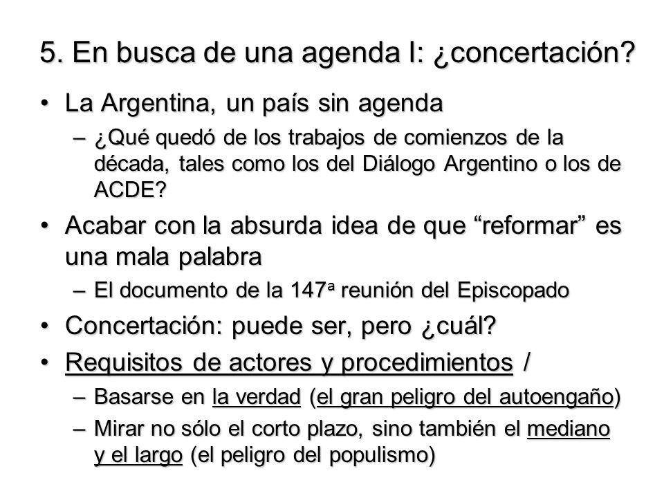 5. En busca de una agenda I: ¿concertación? La Argentina, un país sin agendaLa Argentina, un país sin agenda –¿Qué quedó de los trabajos de comienzos