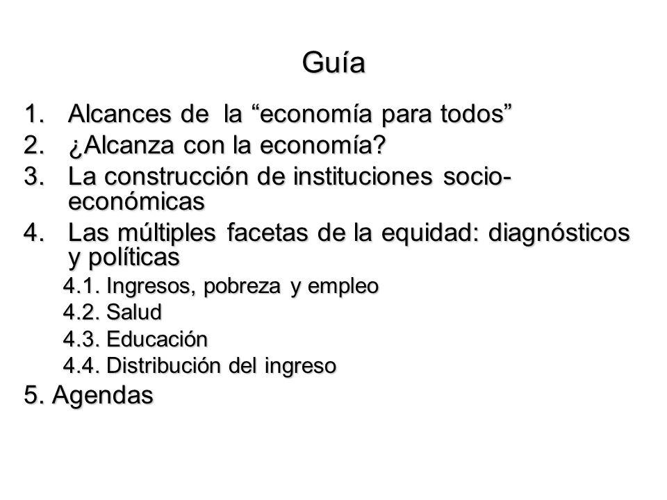 Guía 1.Alcances de la economía para todos 2.¿Alcanza con la economía? 3.La construcción de instituciones socio- económicas 4.Las múltiples facetas de
