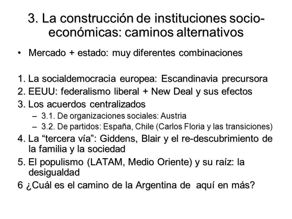 3. La construcción de instituciones socio- económicas: caminos alternativos Mercado + estado: muy diferentes combinacionesMercado + estado: muy difere