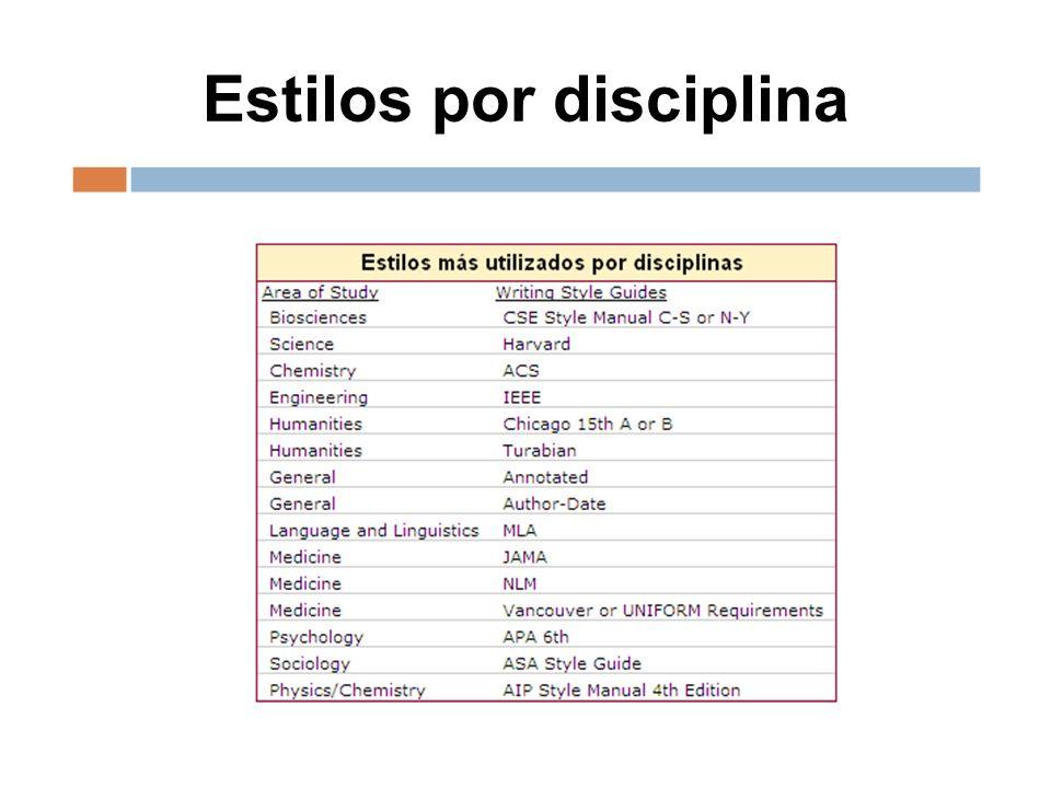 Estilos por disciplina