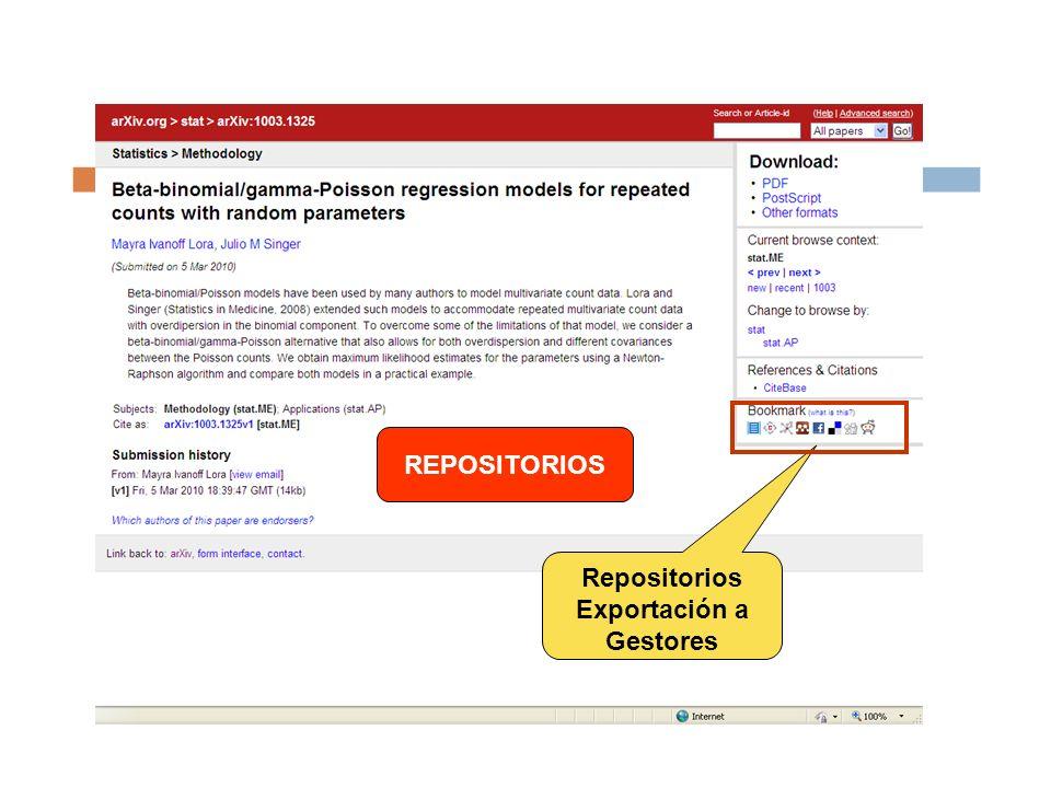 Repositorios Exportación a Gestores REPOSITORIOS