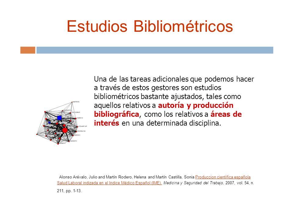 Estudios Bibliométricos Una de las tareas adicionales que podemos hacer a través de estos gestores son estudios bibliométricos bastante ajustados, tales como aquellos relativos a autoría y producción bibliográfica, como los relativos a áreas de interés en una determinada disciplina.