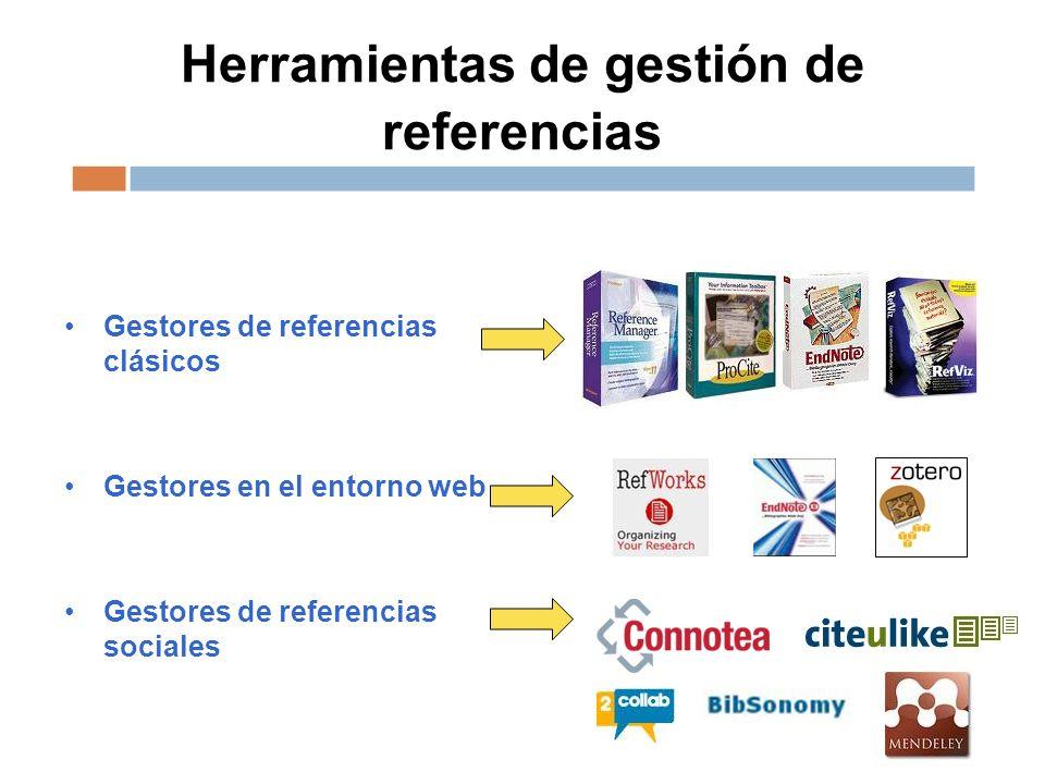 Herramientas de gestión de referencias Gestores de referencias clásicos Gestores en el entorno web Gestores de referencias sociales