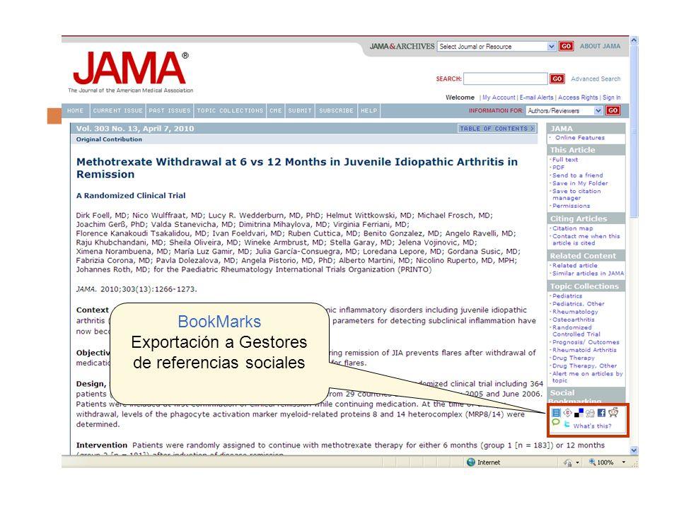 BookMarks Exportación a Gestores de referencias sociales