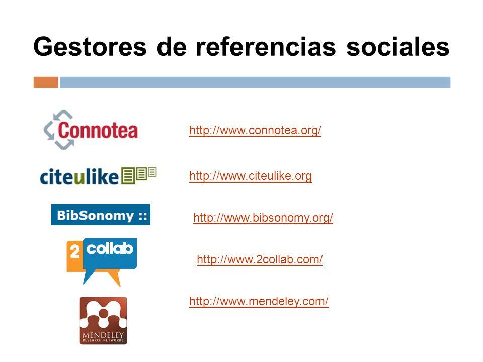 Gestores de referencias sociales http://www.connotea.org/ http://www.citeulike.org http://www.bibsonomy.org/ http://www.2collab.com/ http://www.mendeley.com/