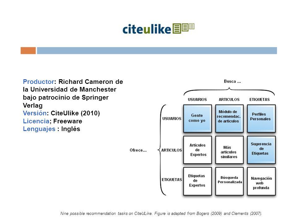 Productor: Richard Cameron de la Universidad de Manchester bajo patrocinio de Springer Verlag Versión: CiteUlike (2010) Licencia; Freeware Lenguajes : Inglés Nine possible recommendation tasks on CiteULike.