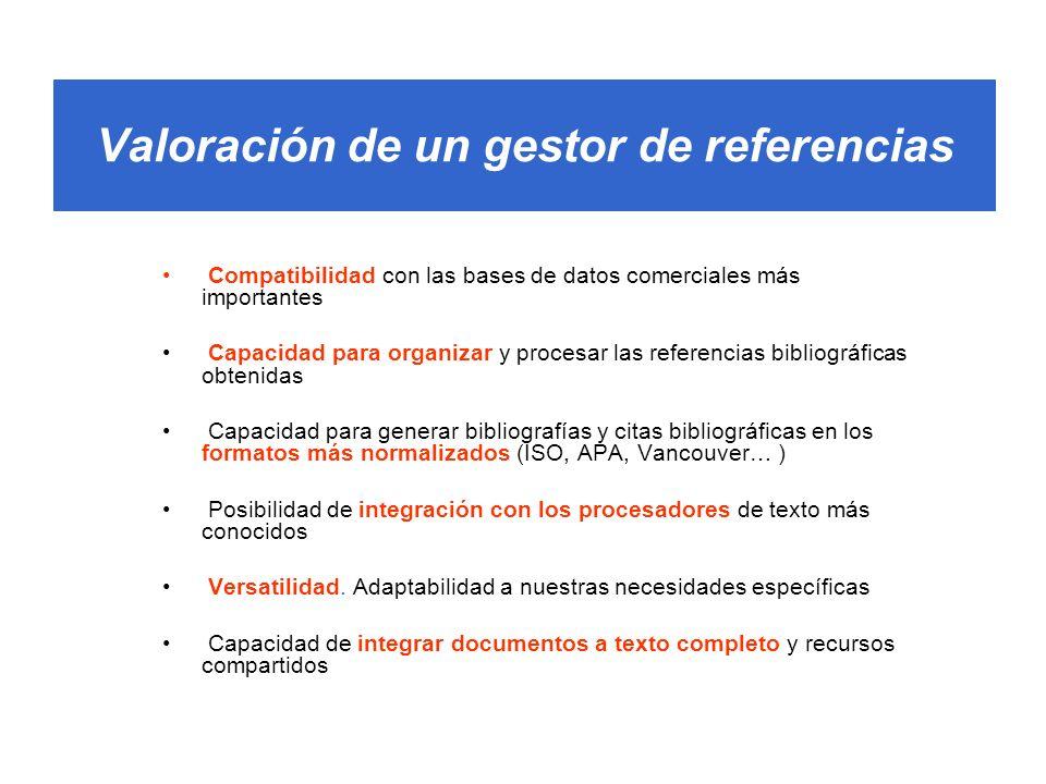 Valoración de un gestor de referencias Compatibilidad con las bases de datos comerciales más importantes Capacidad para organizar y procesar las refer