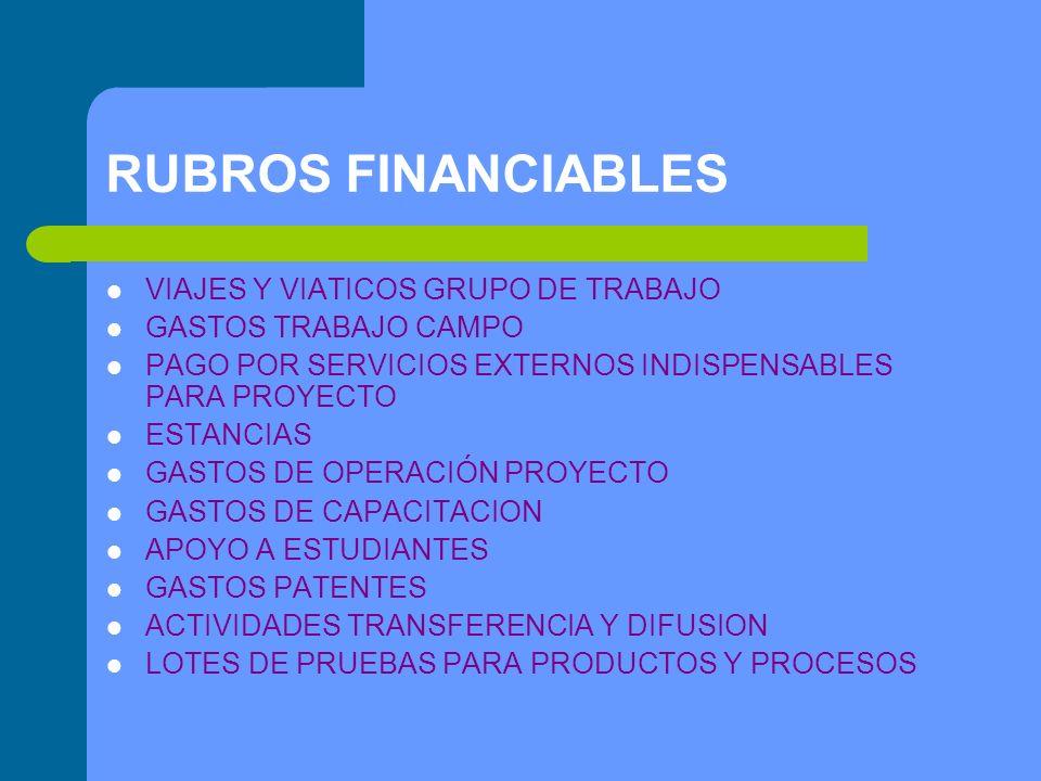 RUBROS FINANCIABLES VIAJES Y VIATICOS GRUPO DE TRABAJO GASTOS TRABAJO CAMPO PAGO POR SERVICIOS EXTERNOS INDISPENSABLES PARA PROYECTO ESTANCIAS GASTOS DE OPERACIÓN PROYECTO GASTOS DE CAPACITACION APOYO A ESTUDIANTES GASTOS PATENTES ACTIVIDADES TRANSFERENCIA Y DIFUSION LOTES DE PRUEBAS PARA PRODUCTOS Y PROCESOS