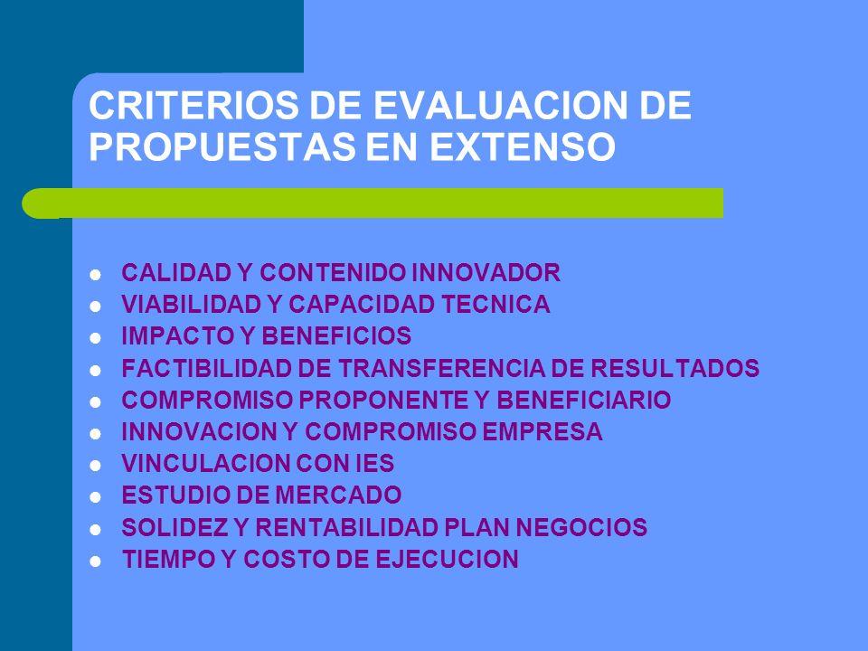 CRITERIOS DE EVALUACION DE PROPUESTAS EN EXTENSO CALIDAD Y CONTENIDO INNOVADOR VIABILIDAD Y CAPACIDAD TECNICA IMPACTO Y BENEFICIOS FACTIBILIDAD DE TRANSFERENCIA DE RESULTADOS COMPROMISO PROPONENTE Y BENEFICIARIO INNOVACION Y COMPROMISO EMPRESA VINCULACION CON IES ESTUDIO DE MERCADO SOLIDEZ Y RENTABILIDAD PLAN NEGOCIOS TIEMPO Y COSTO DE EJECUCION