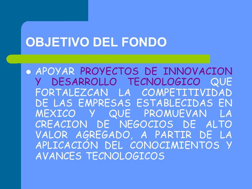 OBJETIVO DEL FONDO APOYAR PROYECTOS DE INNOVACION Y DESARROLLO TECNOLOGICO QUE FORTALEZCAN LA COMPETITIVIDAD DE LAS EMPRESAS ESTABLECIDAS EN MEXICO Y QUE PROMUEVAN LA CREACION DE NEGOCIOS DE ALTO VALOR AGREGADO, A PARTIR DE LA APLICACIÓN DEL CONOCIMIENTOS Y AVANCES TECNOLOGICOS
