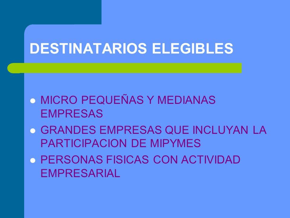 DESTINATARIOS ELEGIBLES MICRO PEQUEÑAS Y MEDIANAS EMPRESAS GRANDES EMPRESAS QUE INCLUYAN LA PARTICIPACION DE MIPYMES PERSONAS FISICAS CON ACTIVIDAD EMPRESARIAL