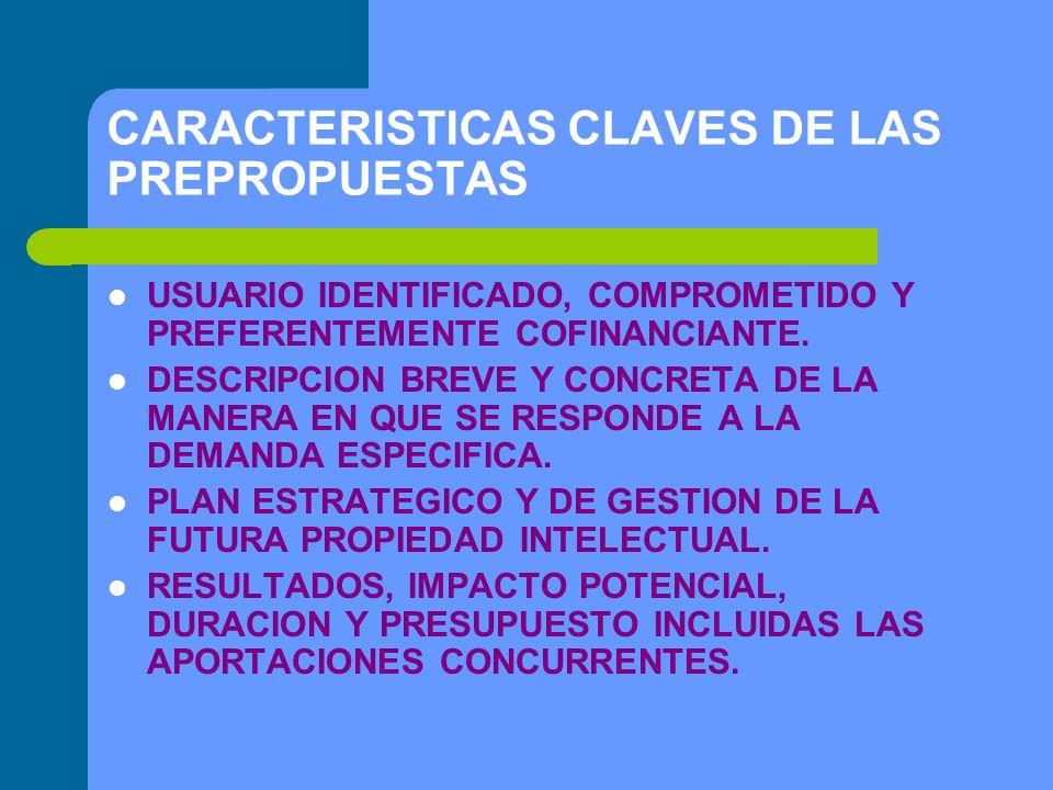CARACTERISTICAS CLAVES DE LAS PREPROPUESTAS USUARIO IDENTIFICADO, COMPROMETIDO Y PREFERENTEMENTE COFINANCIANTE.