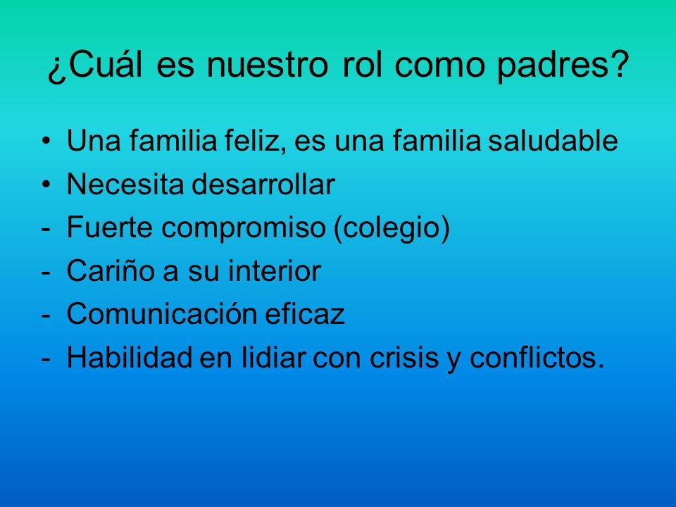 ¿Cuál es nuestro rol como padres? Una familia feliz, es una familia saludable Necesita desarrollar -Fuerte compromiso (colegio) -Cariño a su interior