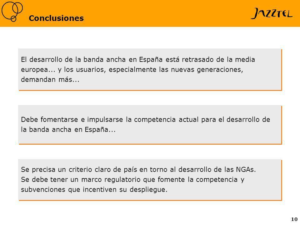 10 Conclusiones Debe fomentarse e impulsarse la competencia actual para el desarrollo de la banda ancha en España... El desarrollo de la banda ancha e