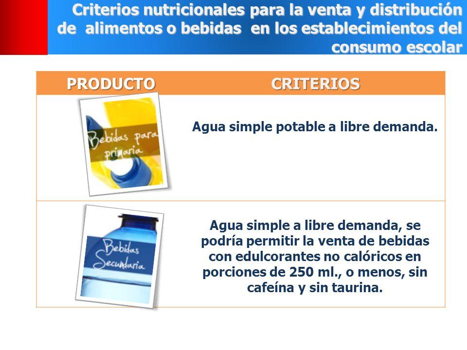 Criterios nutricionales para la venta y distribución de alimentos o bebidas en los establecimientos del consumo escolar PRODUCTOCRITERIOS Agua simple potable a libre demanda.