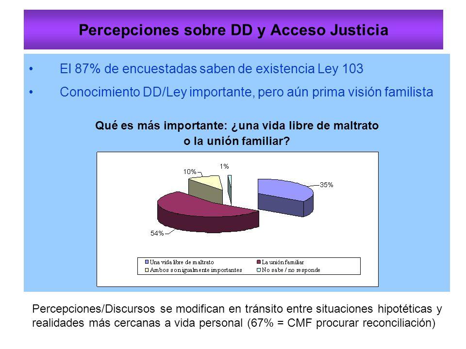 Percepciones sobre DD y Acceso Justicia El 87% de encuestadas saben de existencia Ley 103 Conocimiento DD/Ley importante, pero aún prima visión familista Qué es más importante: ¿una vida libre de maltrato o la unión familiar.