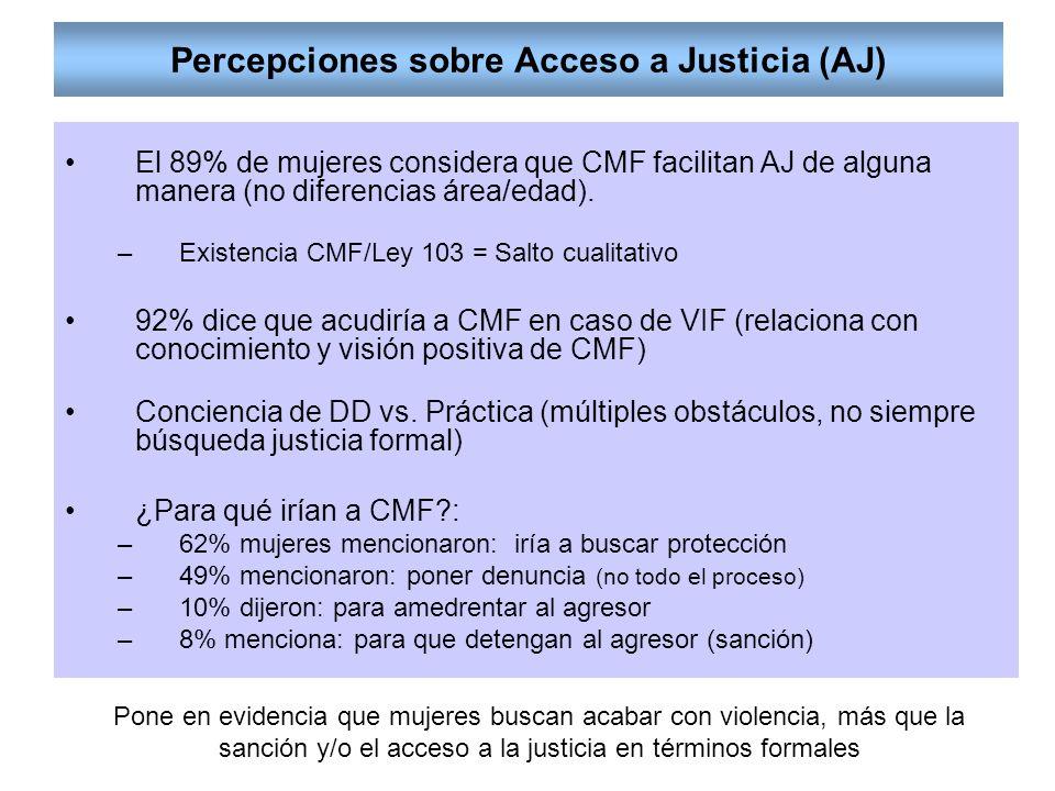 Percepciones sobre Acceso a Justicia (AJ) El 89% de mujeres considera que CMF facilitan AJ de alguna manera (no diferencias área/edad).
