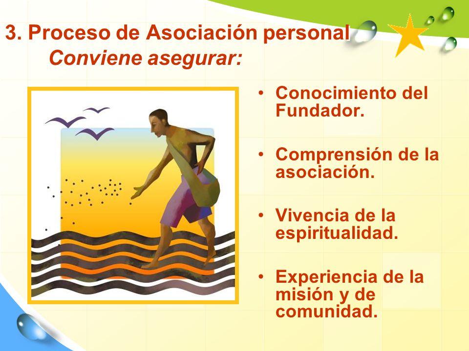 3.Proceso de Asociación personal Conviene asegurar: Conocimiento del Fundador.
