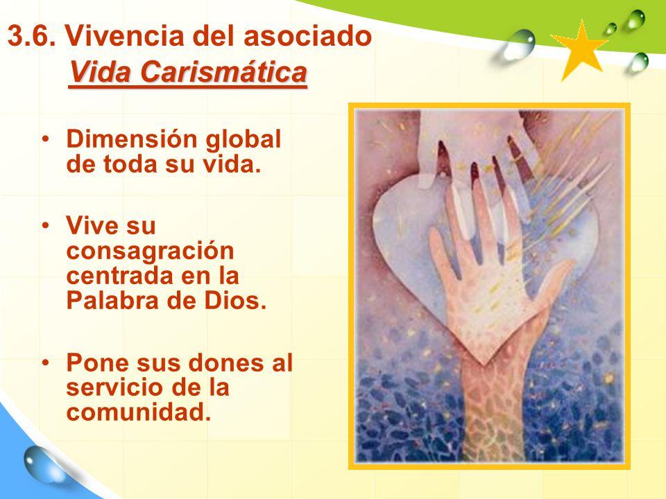Vida Carismática 3.6.Vivencia del asociado Vida Carismática Dimensión global de toda su vida.