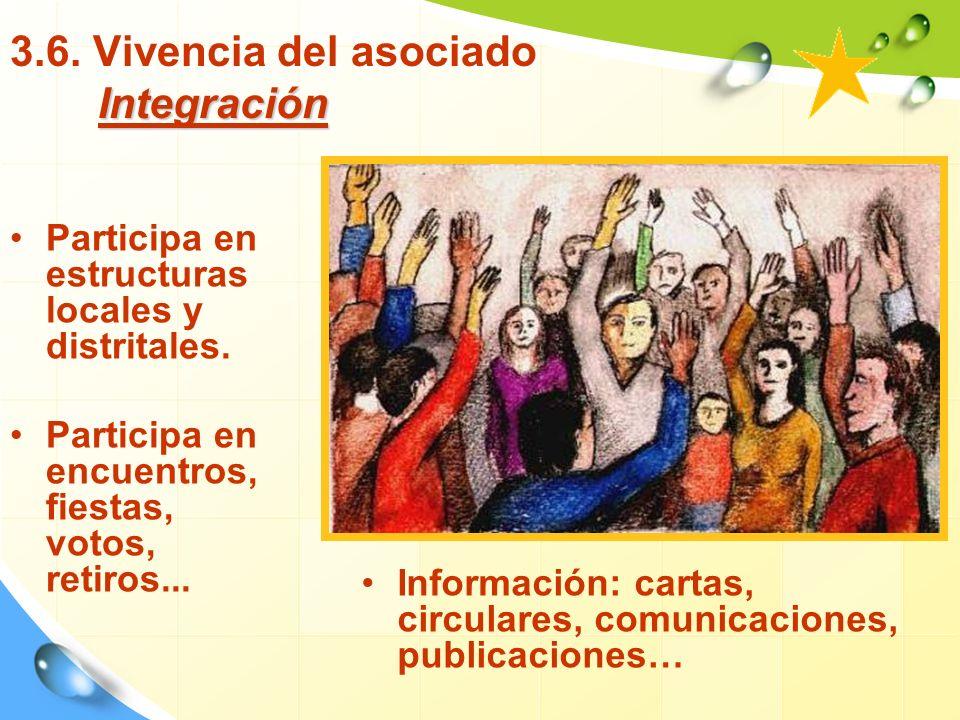 Integración 3.6.Vivencia del asociado Integración Participa en estructuras locales y distritales.