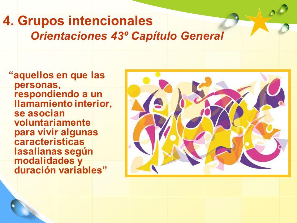 4. Grupos intencionales Orientaciones 43º Capítulo General aquellos en que las personas, respondiendo a un llamamiento interior, se asocian voluntaria
