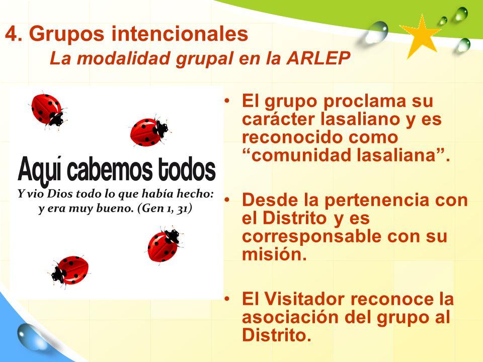 4. Grupos intencionales La modalidad grupal en la ARLEP El grupo proclama su carácter lasaliano y es reconocido como comunidad lasaliana. Desde la per