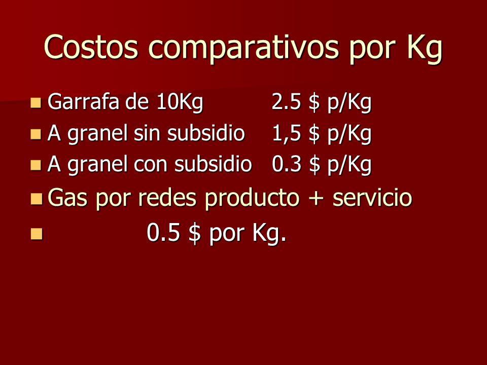 Costos comparativos por Kg Garrafa de 10Kg 2.5 $ p/Kg Garrafa de 10Kg 2.5 $ p/Kg A granel sin subsidio 1,5 $ p/Kg A granel sin subsidio 1,5 $ p/Kg A granel con subsidio 0.3 $ p/Kg A granel con subsidio 0.3 $ p/Kg Gas por redes producto + servicio Gas por redes producto + servicio 0.5 $ por Kg.