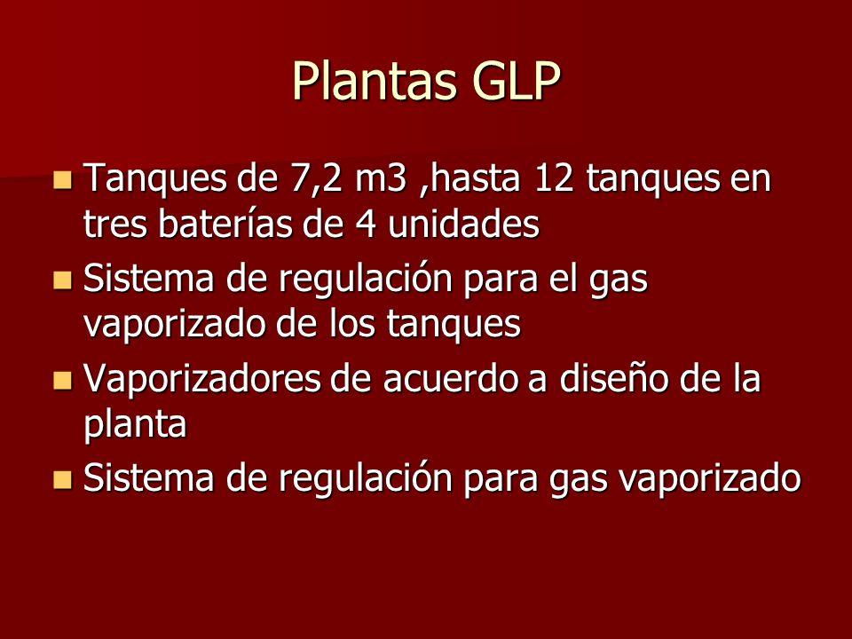 Plantas GLP Tanques de 7,2 m3,hasta 12 tanques en tres baterías de 4 unidades Tanques de 7,2 m3,hasta 12 tanques en tres baterías de 4 unidades Sistem