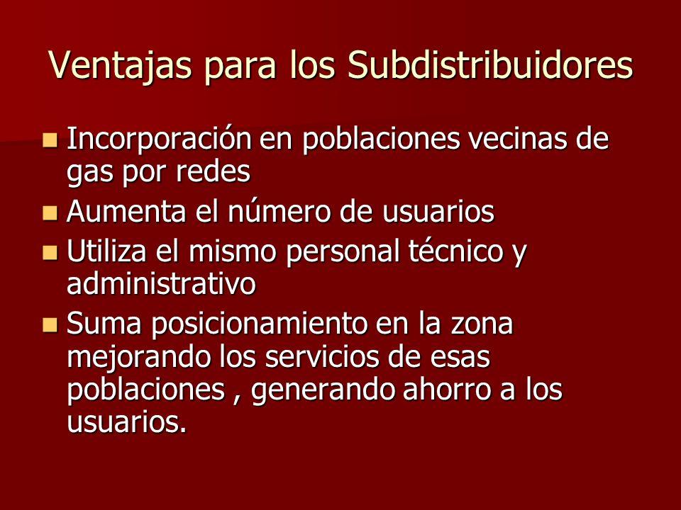 Ventajas para los Subdistribuidores Incorporación en poblaciones vecinas de gas por redes Incorporación en poblaciones vecinas de gas por redes Aument