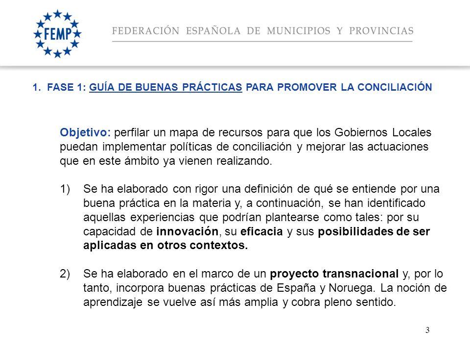 3 1. FASE 1: GUÍA DE BUENAS PRÁCTICAS PARA PROMOVER LA CONCILIACIÓN Objetivo: perfilar un mapa de recursos para que los Gobiernos Locales puedan imple