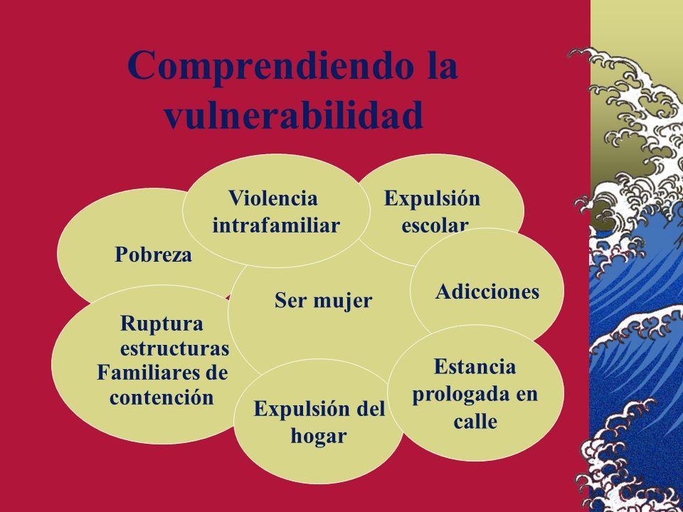 Comprendiendo la vulnerabilidad Pobreza Ruptura estructuras Familiares de contención Expulsión escolar Expulsión del hogar Adicciones Estancia prologada en calle Violencia intrafamiliar Ser mujer