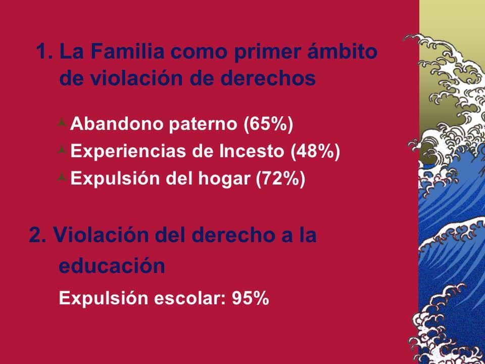 1. La Familia como primer ámbito de violación de derechos Abandono paterno (65%) Experiencias de Incesto (48%) Expulsión del hogar (72%) 2. Violación
