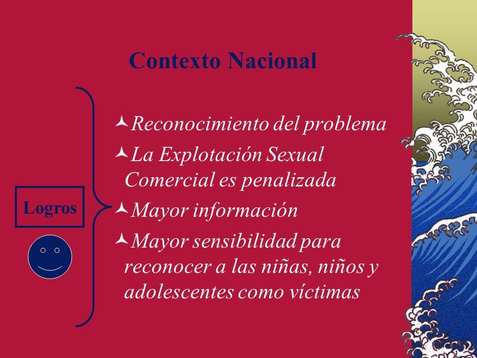 Contexto Nacional Reconocimiento del problema La Explotación Sexual Comercial es penalizada Mayor información Mayor sensibilidad para reconocer a las niñas, niños y adolescentes como víctimas Logros