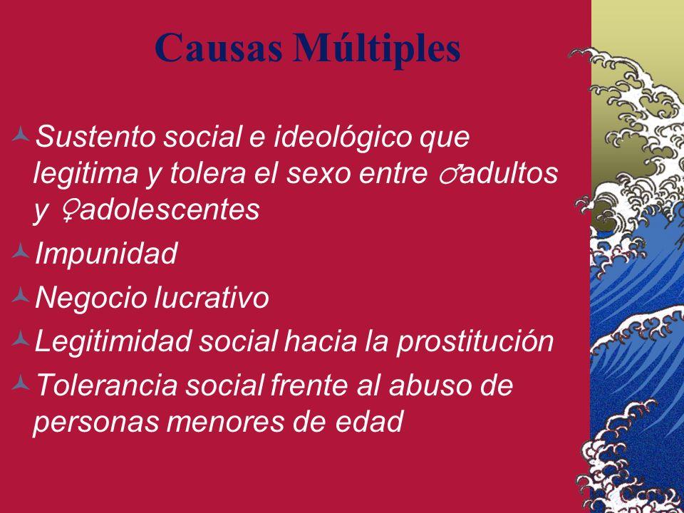Causas Múltiples Sustento social e ideológico que legitima y tolera el sexo entre adultos y adolescentes Impunidad Negocio lucrativo Legitimidad social hacia la prostitución Tolerancia social frente al abuso de personas menores de edad