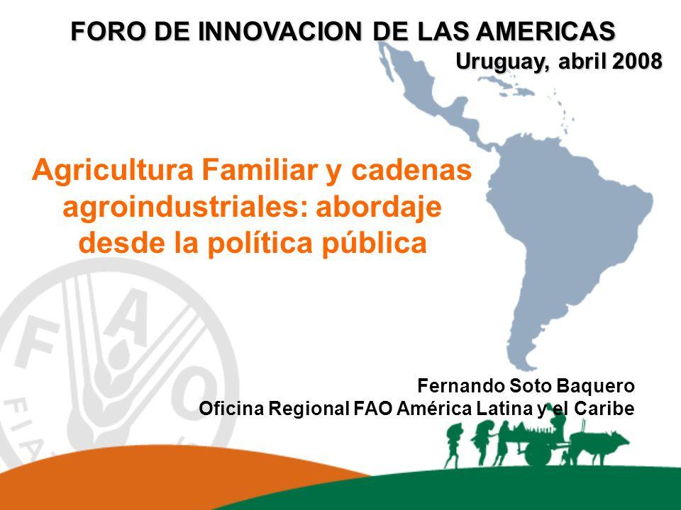 Agricultura Familiar y cadenas agroindustriales: abordaje desde la política pública Fernando Soto Baquero Oficina Regional FAO América Latina y el Car