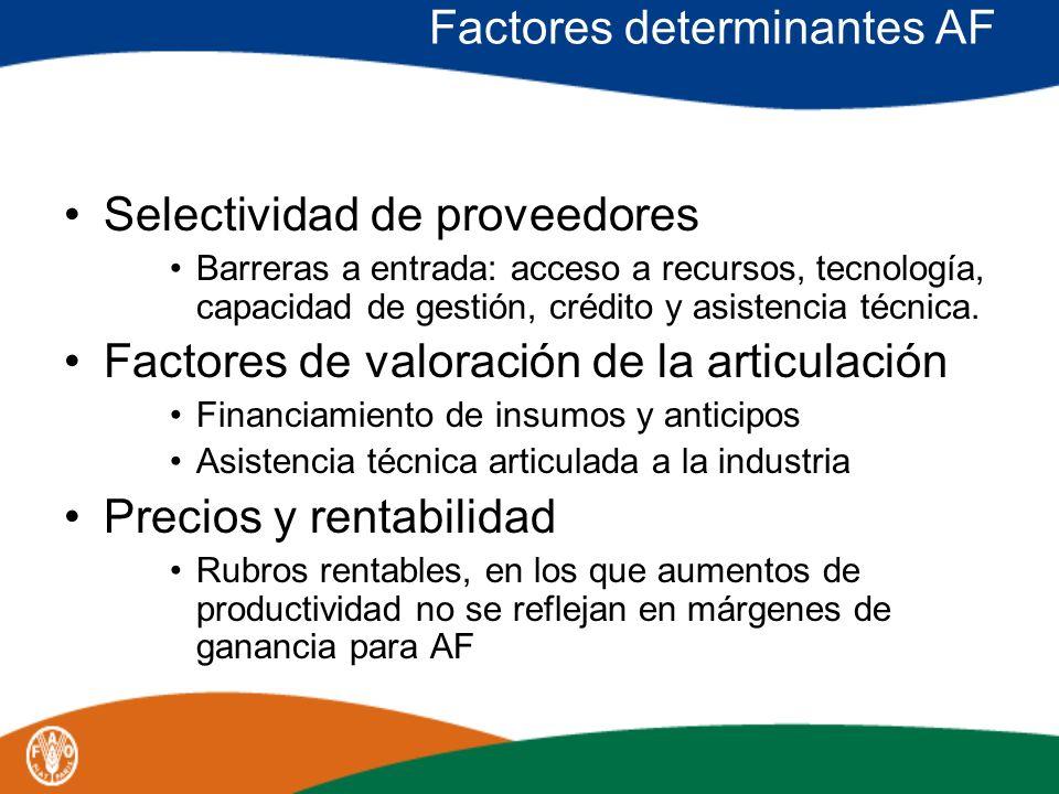 Factores determinantes AF Selectividad de proveedores Barreras a entrada: acceso a recursos, tecnología, capacidad de gestión, crédito y asistencia té
