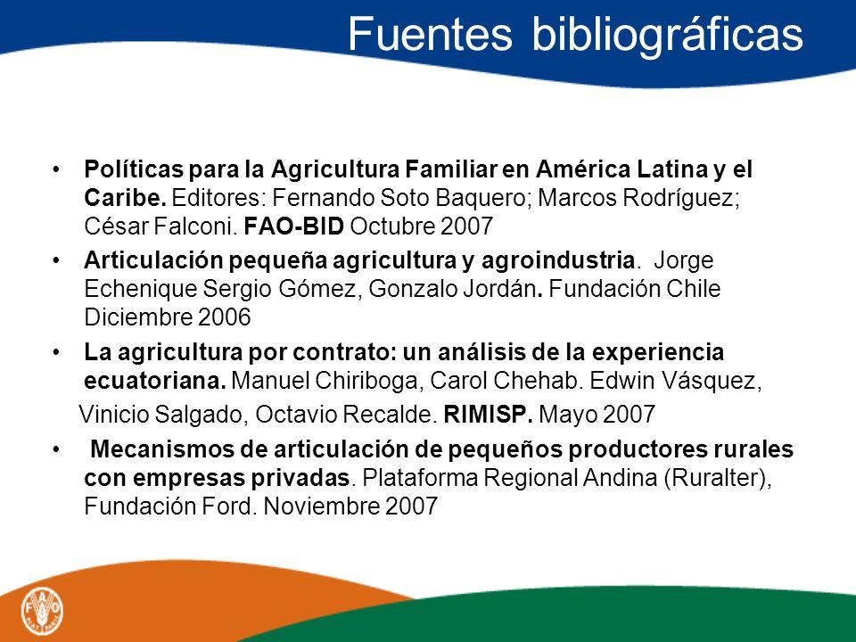 Fuentes bibliográficas Políticas para la Agricultura Familiar en América Latina y el Caribe. Editores: Fernando Soto Baquero; Marcos Rodríguez; César
