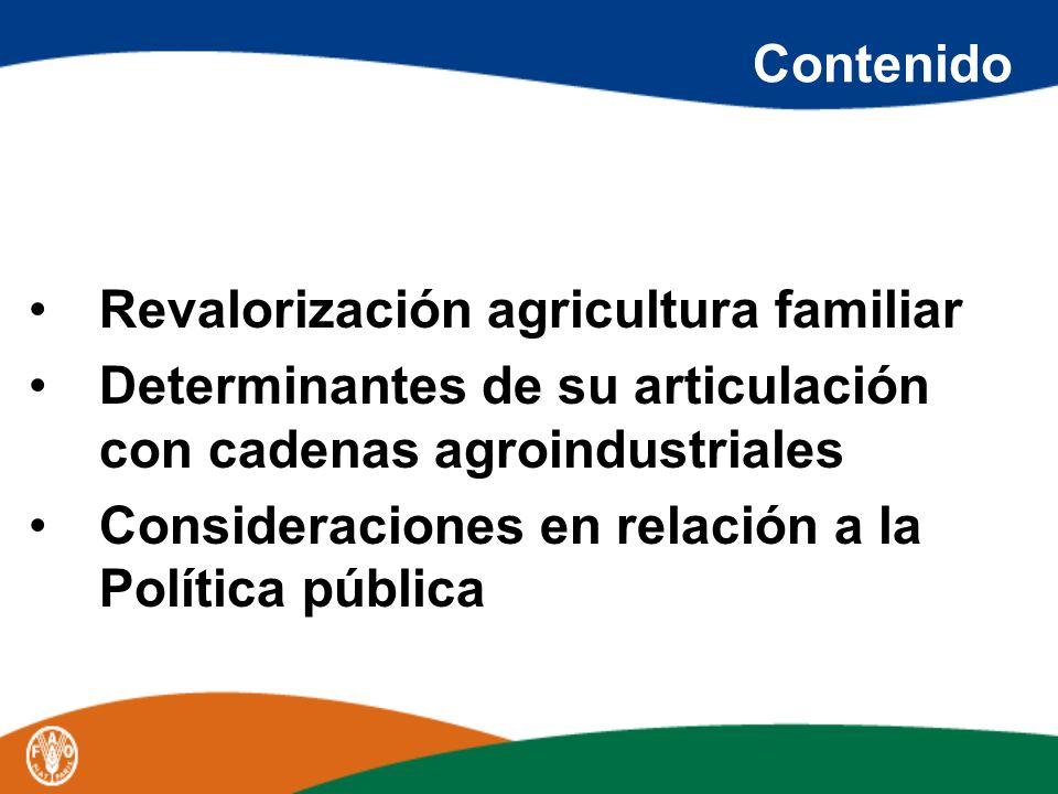 Contenido Revalorización agricultura familiar Determinantes de su articulación con cadenas agroindustriales Consideraciones en relación a la Política