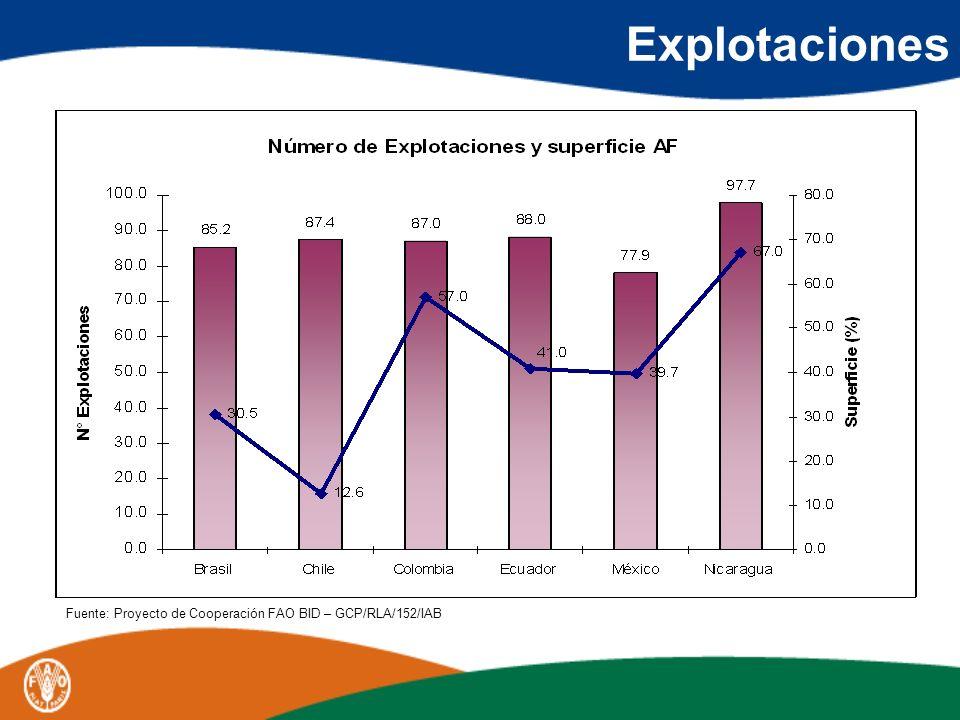 AF en la producción y el empleo sectorial Valor de la Producción Agropecuaria (%) Empleo Sectorial (%) Brasil3877 Chile2757 Colombia4157 Ecuador45- México3970 Nicaragua67-