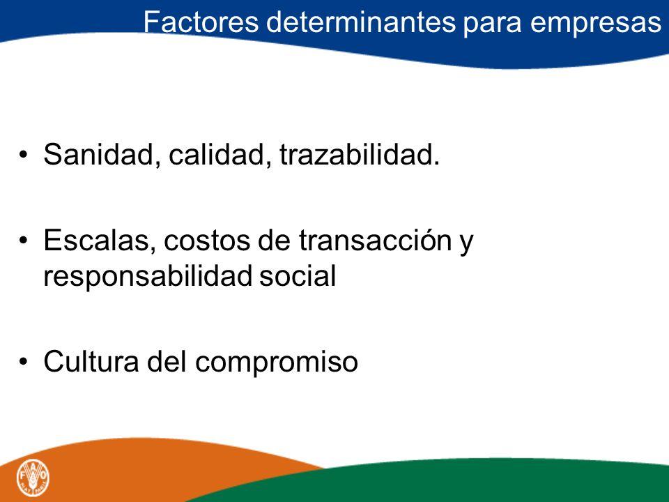 Factores determinantes para empresas Sanidad, calidad, trazabilidad. Escalas, costos de transacción y responsabilidad social Cultura del compromiso