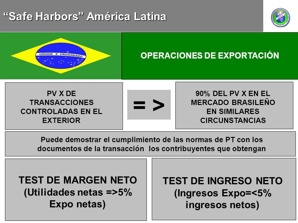MEXICO CHILE OPERACIONES DE EXPORTACIÓN = > PV X DE TRANSACCIONES CONTROLADAS EN EL EXTERIOR 90% DEL PV X EN EL MERCADO BRASILEÑO EN SIMILARES CIRCUNS
