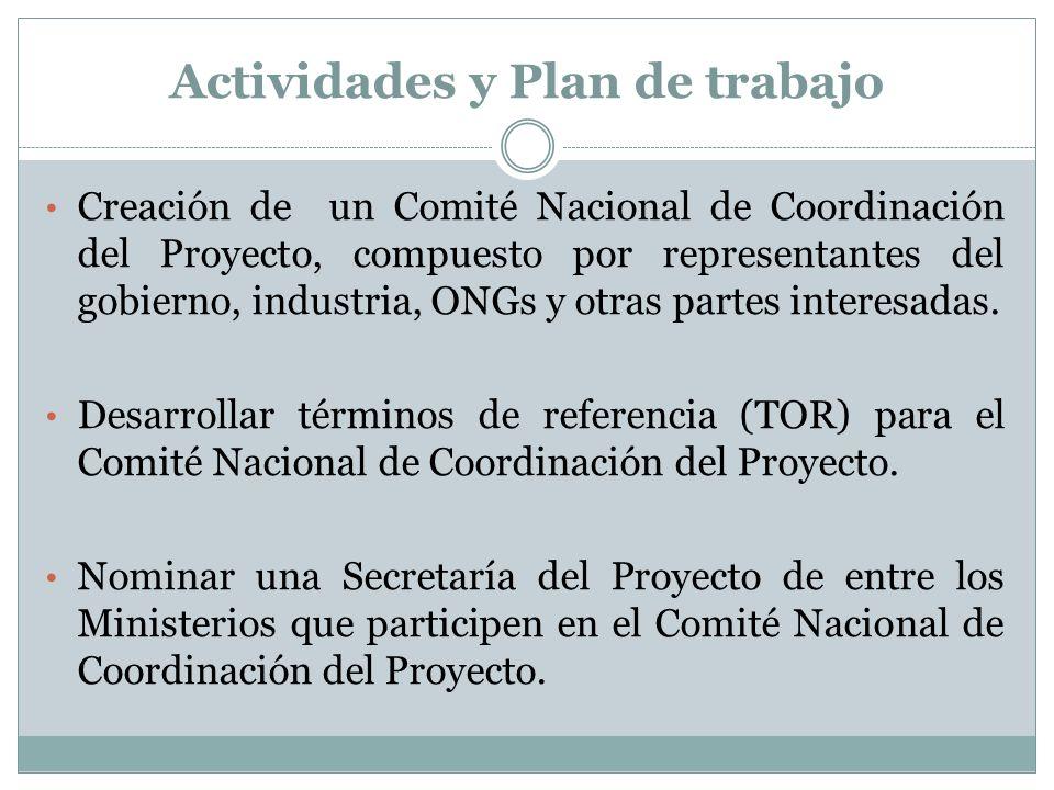 Actividades y Plan de trabajo Creación de un Comité Nacional de Coordinación del Proyecto, compuesto por representantes del gobierno, industria, ONGs