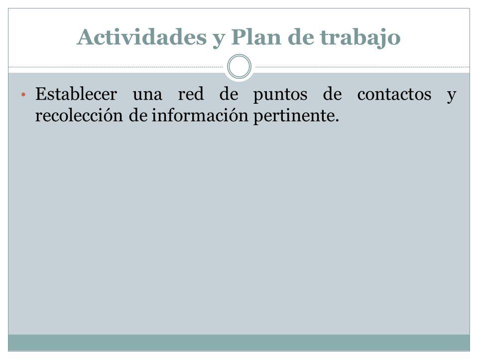 Actividades y Plan de trabajo Establecer una red de puntos de contactos y recolección de información pertinente.