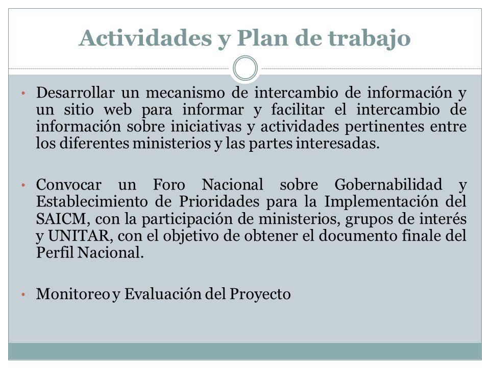 Actividades y Plan de trabajo Desarrollar un mecanismo de intercambio de información y un sitio web para informar y facilitar el intercambio de inform