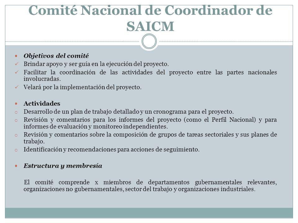 Comité Nacional de Coordinador de SAICM Objetivos del comité Brindar apoyo y ser guía en la ejecución del proyecto. Facilitar la coordinación de las a