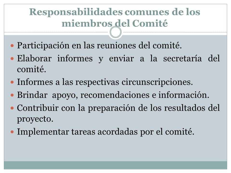 Responsabilidades comunes de los miembros del Comité Participación en las reuniones del comité. Elaborar informes y enviar a la secretaría del comité.